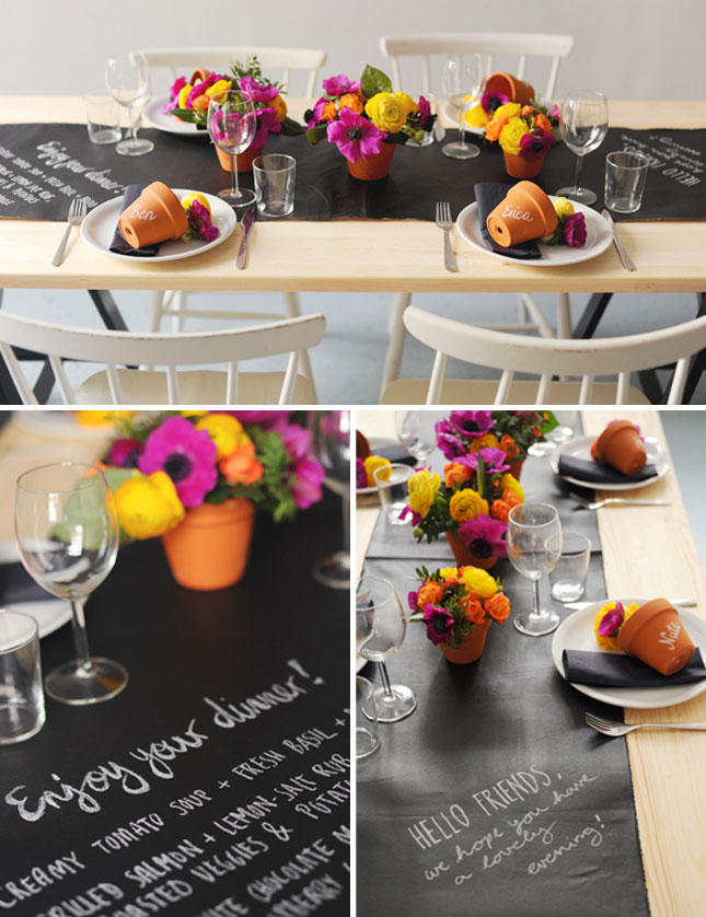 Chalkboard wedding table and runner